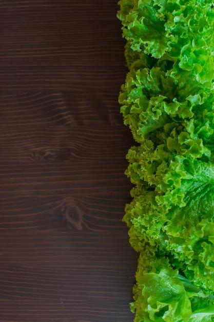 Verse groene sla op een donkere achtergrond. het concept is vegetarisme. Premium Foto
