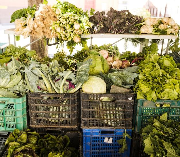 Verse groente ingepakt in plastic krat bij kruidenierswinkelopslag Gratis Foto