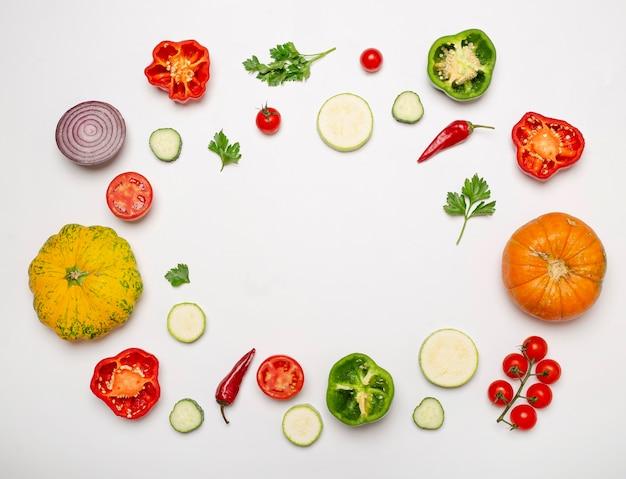 Verse groenten circulaire frame Gratis Foto