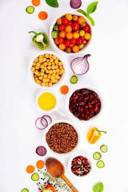 Verse ingrediënten voor het koken Premium Foto