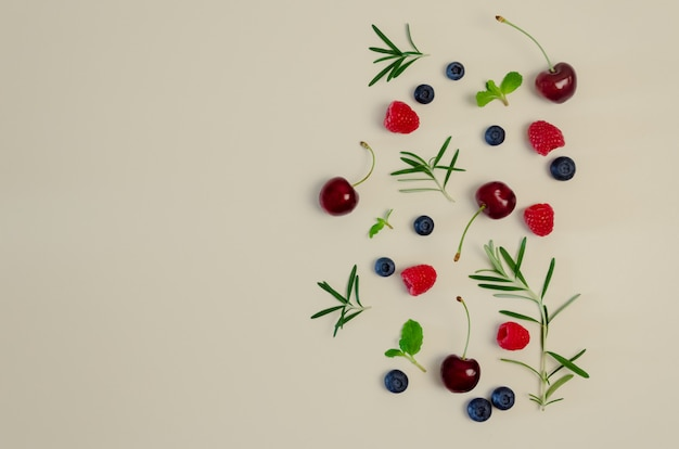 Verse kersen, bosbessen, frambozen, munt en rozemarijnblad Premium Foto