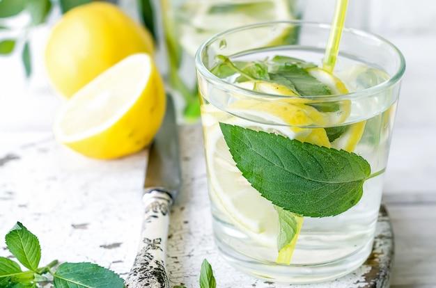 Verse mojitodranken in flessen en ingrediënten - citroen en munt Premium Foto