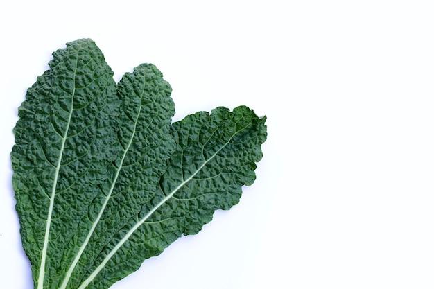 Verse organische groene boerenkoolbladeren op wit Premium Foto