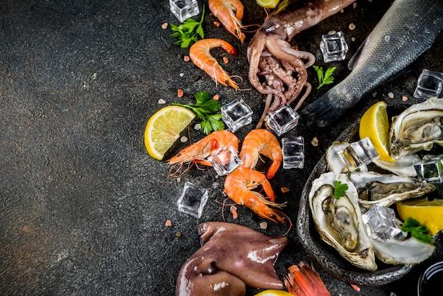 Verse rauwe zeevruchten Premium Foto