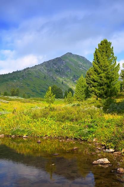 Verticaal landschap met bergenmeer Gratis Foto