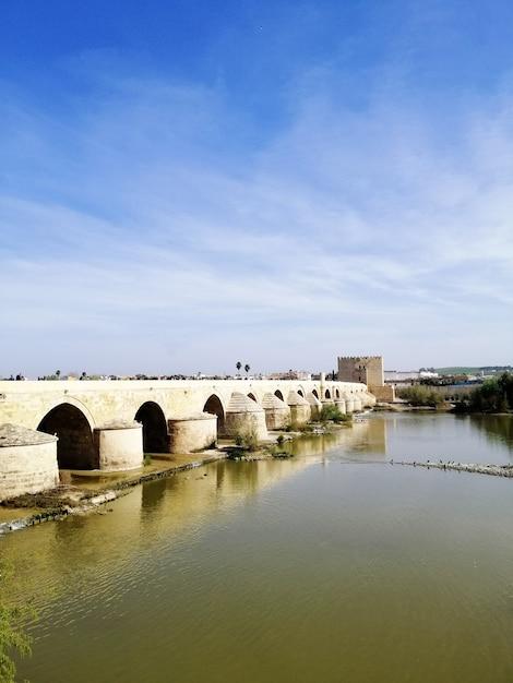Verticaal schot van de beroemde historische brug in cordoba Gratis Foto