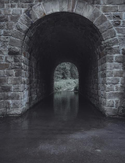 Verticaal schot van een grijze steenwatertunnel Gratis Foto