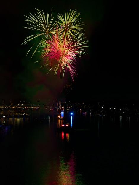 Verticaal schot van kleurrijk vuurwerk dat 's nachts over water in een stad nadenkt Gratis Foto