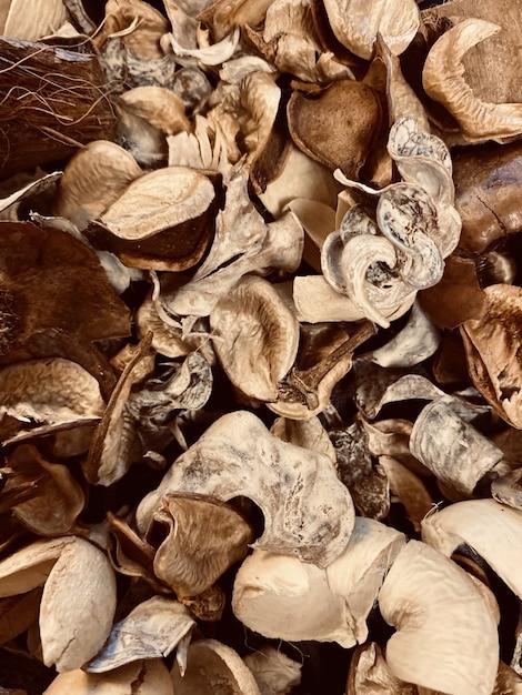 Verticale close-up shot van droge herfstbladeren op de grond Gratis Foto