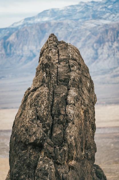 Verticale close-up shot van een kleine bruine rots Gratis Foto