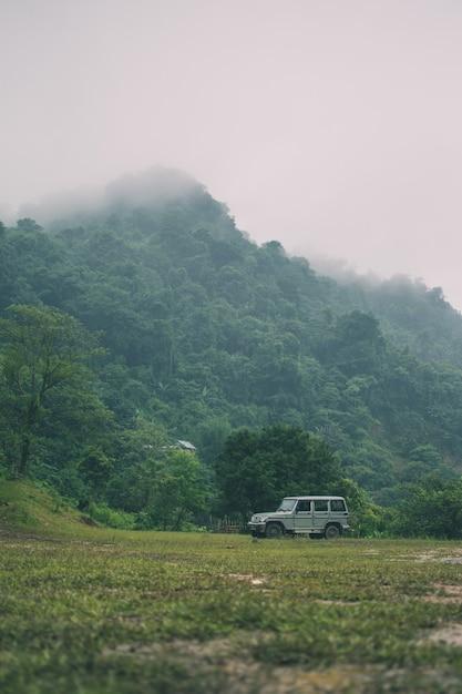 Verticale opname van bergen bedekt met groen en een auto Gratis Foto