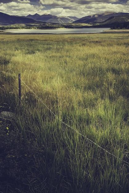 Verticale opname van een veld met een meer omgeven door bergen in het midden Gratis Foto