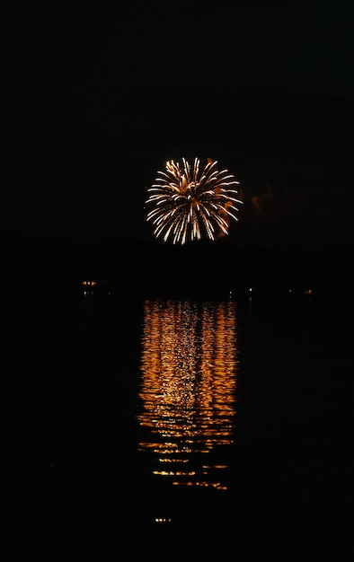 Verticale shot van prachtige grote vuurwerk in de verte met reflectie in het water Gratis Foto