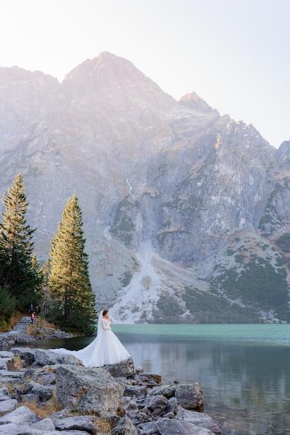 Verticale weergave van kleine bruid in de bergen in de buurt van het meer, staande op de rotsen Gratis Foto