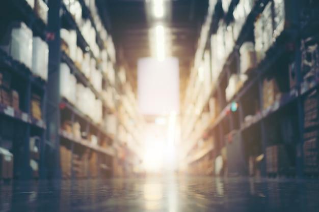 Vervagen magazijn voorraad productvoorraad voor logistieke achtergrond, vintage filter afbeelding Premium Foto