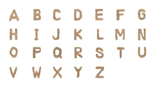 Verzameling alfabet letter lettertype instellen geïsoleerd op witte achtergrond. engels plat bruin gescheurd papier karakter a tot z Premium Foto