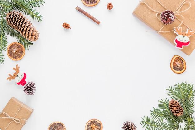 Verzameling van kerstversiering Premium Foto