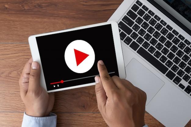 Video marketing audio video, markt interactieve kanalen Premium Foto