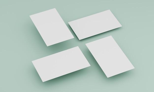 Vier visitekaartjes van bovenaf Premium Foto