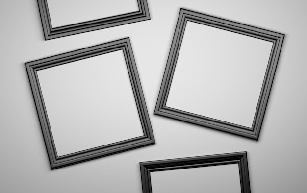 Vier zwarte fotofotoframes blanco. 3d illustratie. Premium Foto