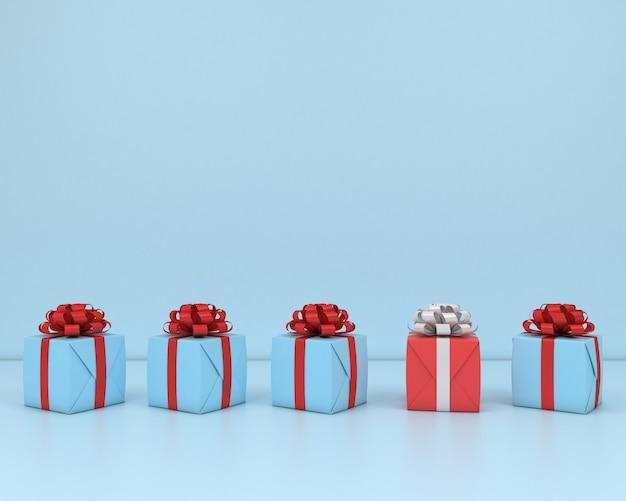 Vierkante geschenkdoos en rood lint blauwe achtergrond 3d-concept render pastel Premium Foto