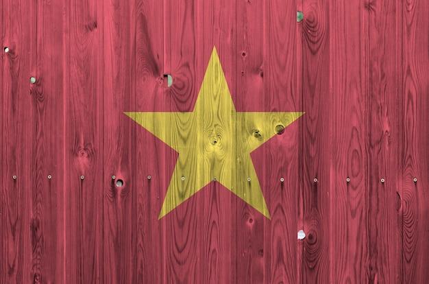 Vietnam vlag op oude houten muur Premium Foto