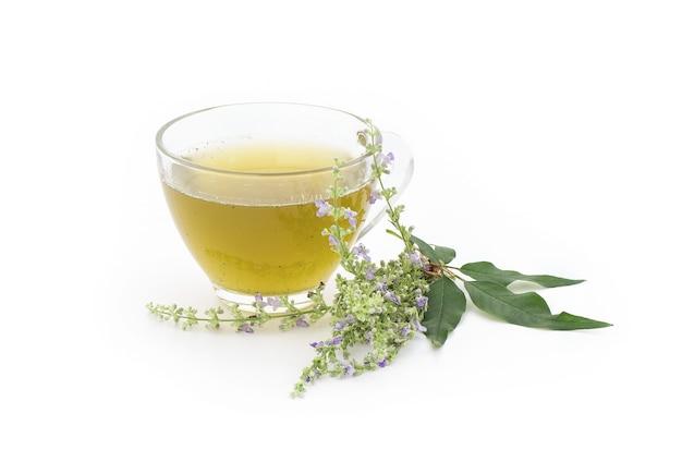 Vijfbladige kuisboom of vitex negundo-bloemen en sap van groene bladeren in een theekop die op wit wordt geïsoleerd Premium Foto