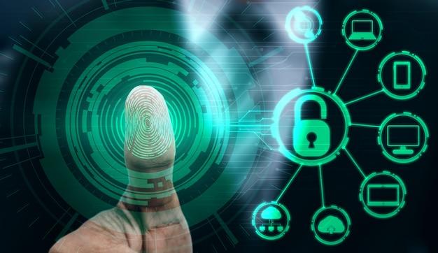 Vingerafdruk biometrische digitale scantechnologie. Premium Foto