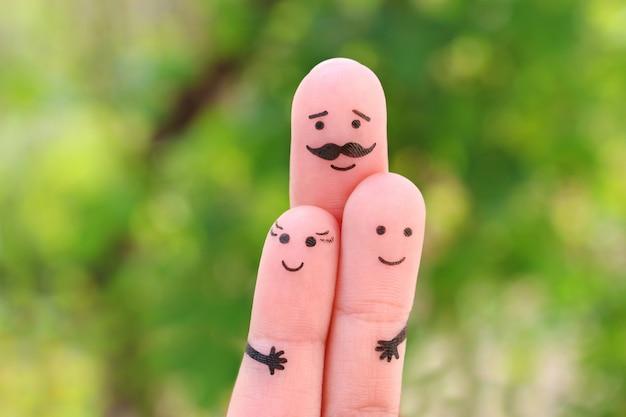 Vingerskunst van gelukkig gezin Premium Foto