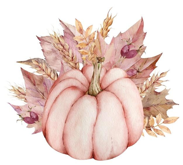 Vintage aquarel thanksgiving illustratie. handgetekende roze pompoen met herfstbladeren en oren van tarwe. Premium Foto