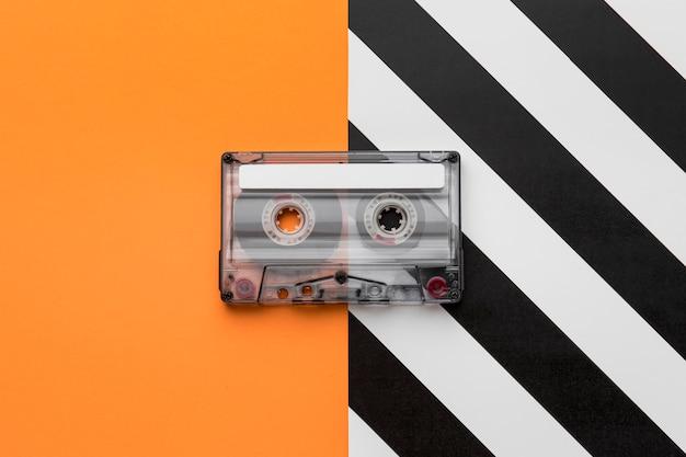 Vintage cassette mix-tape bovenaanzicht Gratis Foto