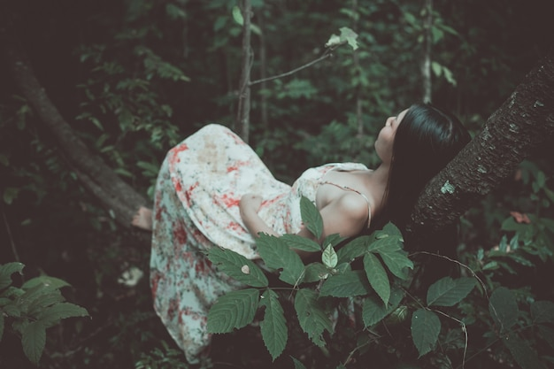Vintage foto van mooie vrouw op boom in het park Gratis Foto