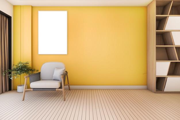 Vintage gele woonkamer met fauteuil en mooi design Premium Foto