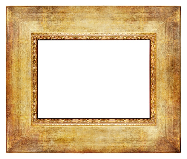 Vintage houten leeg frame met gouden randen geïsoleerd op wit Premium Foto