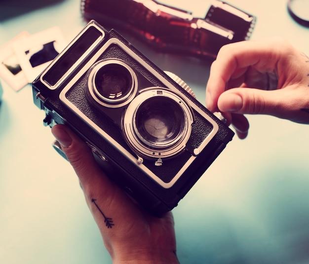 Vintage retro filmcamera Gratis Foto