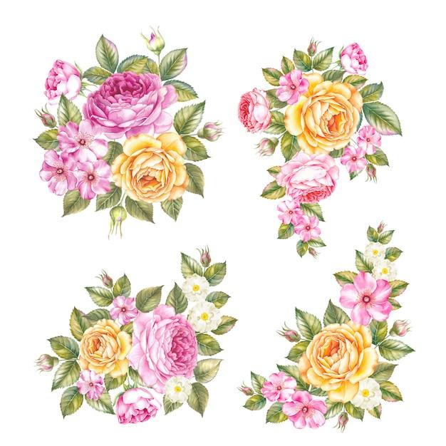 Vintage set rozen garland. Premium Foto