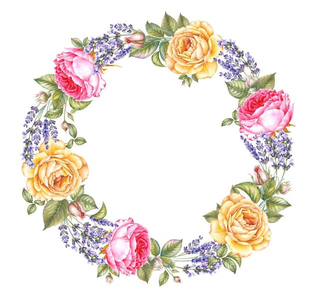 Vintage slinger van bloeiende rozen en lavendel, krans afgerond bloemen frame Premium Foto