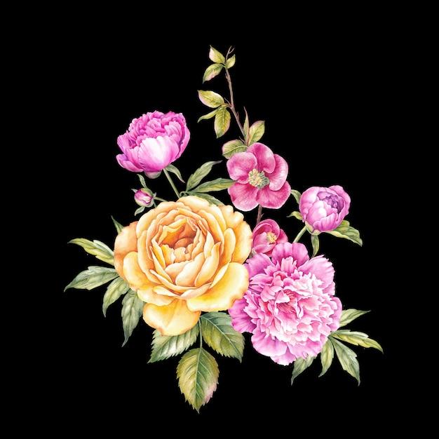 Vintage slinger van bloeiende rozen. Premium Foto
