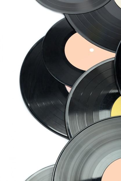 Vinylschijven die op wit worden geïsoleerd Premium Foto