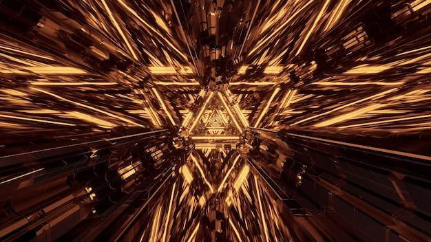 Virtuele projectie van lichten die driehoekige patronen vormen en naar voren stromen Gratis Foto