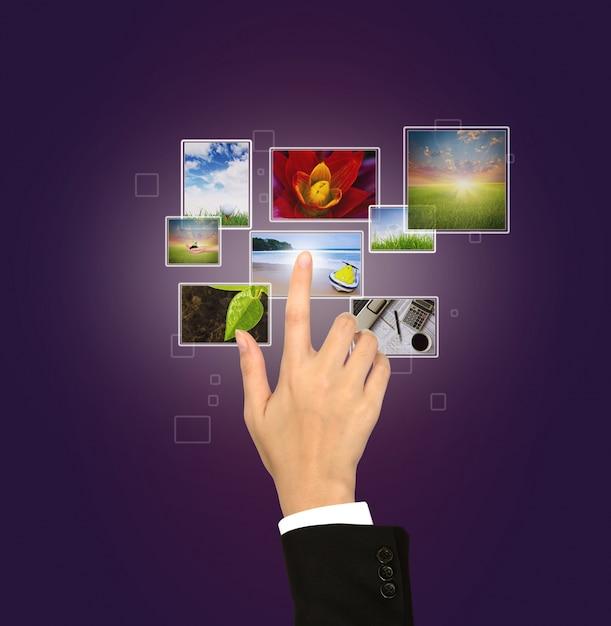 Virtuele scherm met verschillende foto's Gratis Foto