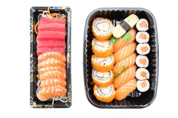 Vis sushi achtergrond diner garnalen Gratis Foto