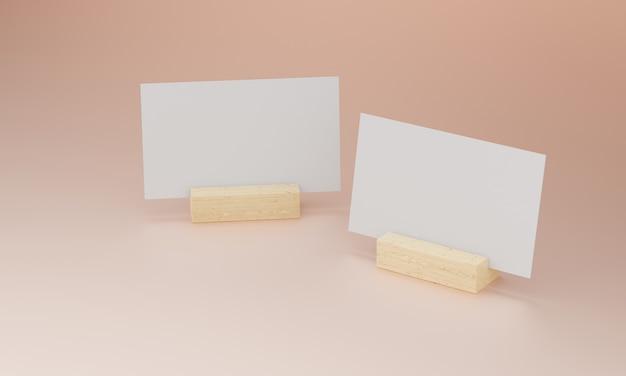Visitekaartje op houten voet Premium Foto