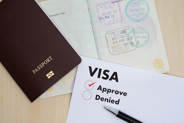 Visumaanvraagformulier om te reizen immigratie een document geld voor paspoortkaart en reisplan Premium Foto