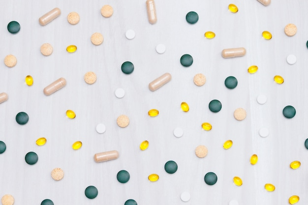 Vitaminen, supplementen, gezond leven concept. Premium Foto