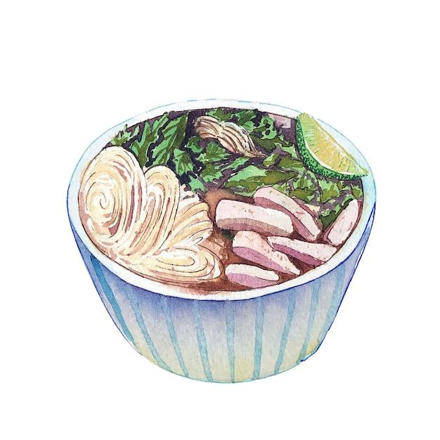 Vla van de waterverf vietnamese soep die op witte achtergrond wordt geïsoleerd. Premium Foto