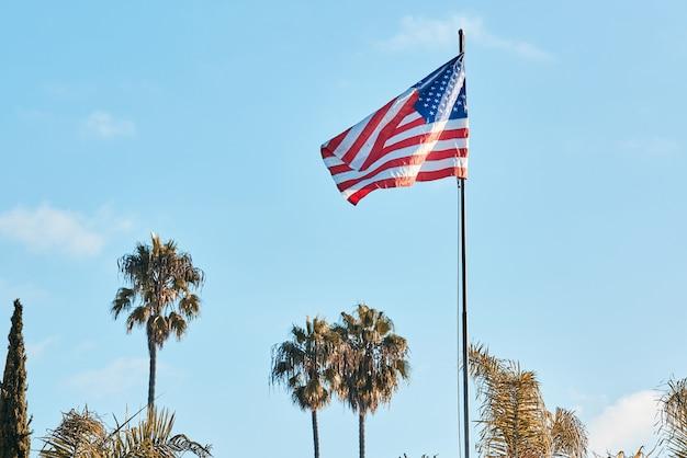 Vlag van amerika waait met palmbomen op de achtergrond Premium Foto