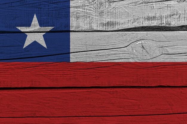 Vlag van chili geschilderd op oude houten plank Premium Foto