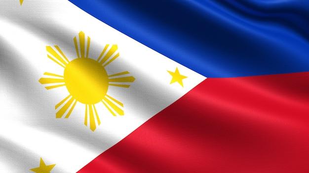 Vlag van filipijnen, met golvende stof textuur Premium Foto