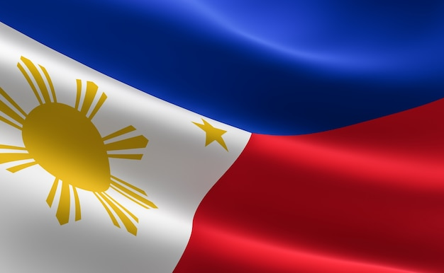 Vlag van filippijnen. illustratie van de filippijnse vlag zwaaien. Premium Foto